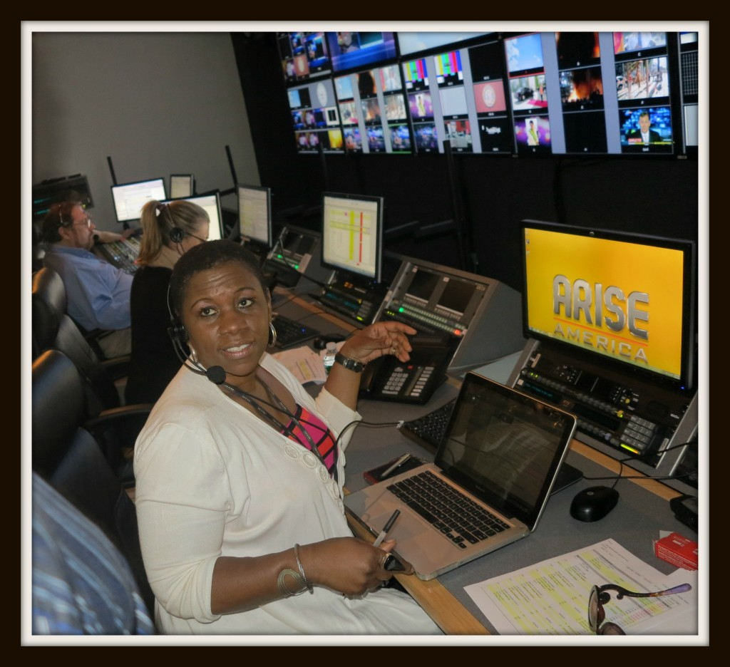 Executive Producer, Debbie Mitchell in Our Take on Arise TV control room Photo Credit: Debbie Mitchell