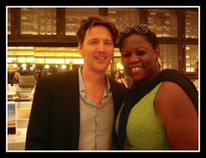 Debbie with actor Andrew McCarthy