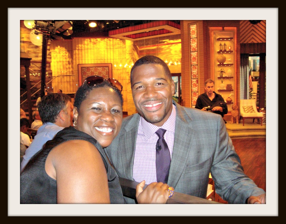 "Debbie Mitchell with Michael Strahan of ""Good Morning America"" and ""Live! with Kelly and Michael"""