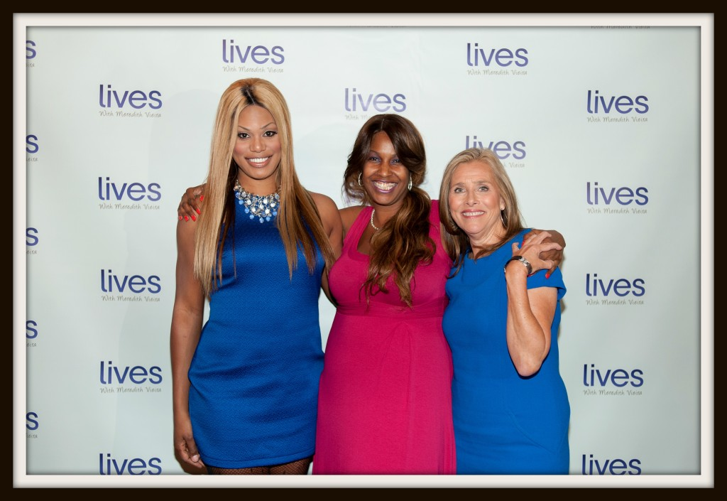 "Laverne Cox of ""Orange Is The New Black"", Suncera Johnson and Meredith Vieira  Photo Credit: Luis Ruiz"
