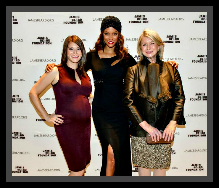 : Honorary Event Chairs Gail Simmons, Tyra Banks and Martha Stewart at the 2013 James Beard Foundation Women in Whites Gala hosted at the Four Seasons Restaurant in New York City on November 15. Photo by Ken Goodman.