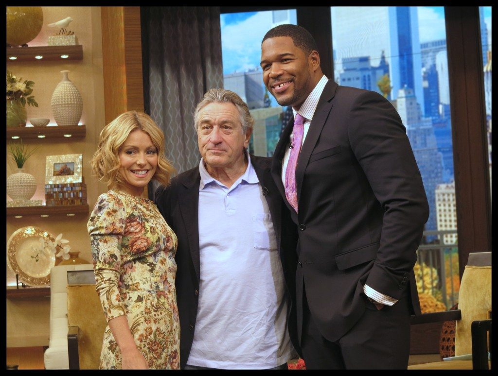 Kelly Ripa, Robert DeNiro and Michael Strahan at Live! with Kelly and Michael Photo Credit: Debbie Mitchell