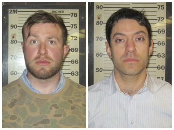 CNN producers Connor Fieldman Boals, 26, (L) and Yonatan Pomrenze, 35 (R) are pictured in this booking photo handout courtesy of Port Authority of New York. (REUTERS/PORT AUTHORITY OF NEW YORK/HANDOUT)