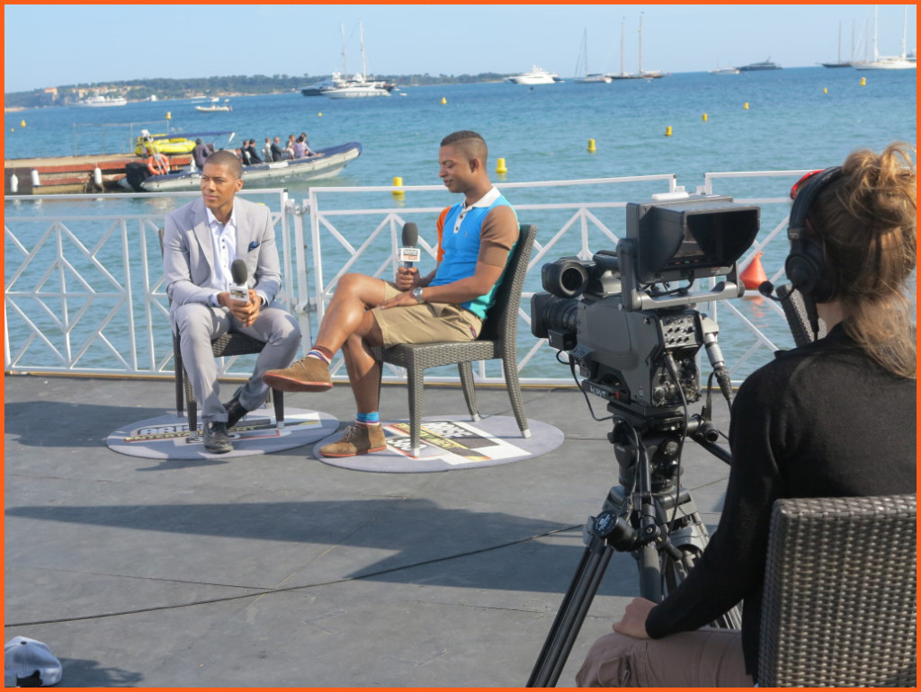 Arise TV shooting at Cannes Film Festival 2014 Photo Credit: Debbie Mitchell