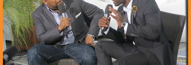 Arise On Screen host Mike Sargent interviewing actor Jimmy Jean Louis at 2014 Cannes Film Festival