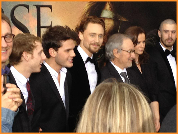 David Thewlis, Robert Emms, Jeremy Irvine, Tom Middleton, Steven Speilberg, Emily Watson @ the WAR HORSE premiere. Photo credits: Mike Sargent