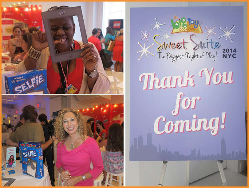 "Me playing the ""Selfie"" game and Toy Insider Laurie Schacht , 2014 The Big Toy Book Sweet Suite - Blogger Bash NYC"