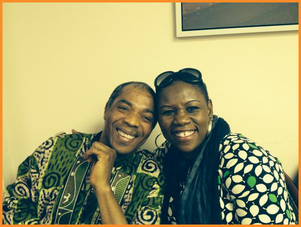 Nigerian Musician Femi Kuti and me in the Arise On Screen greenroom Photo Credit: Debbie Mitchell