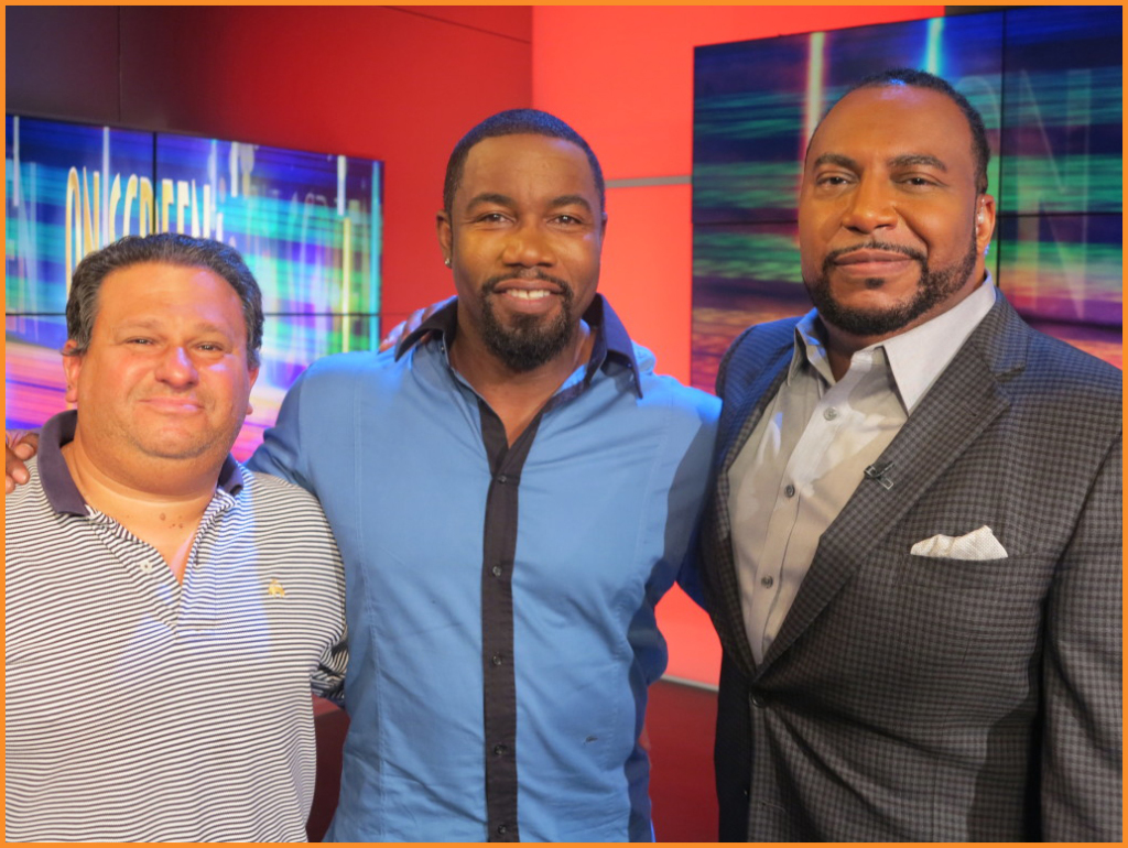 (l) Arise On Screen Director Larry Michaels, Actor Michael Jai White and Host Michael Sargent