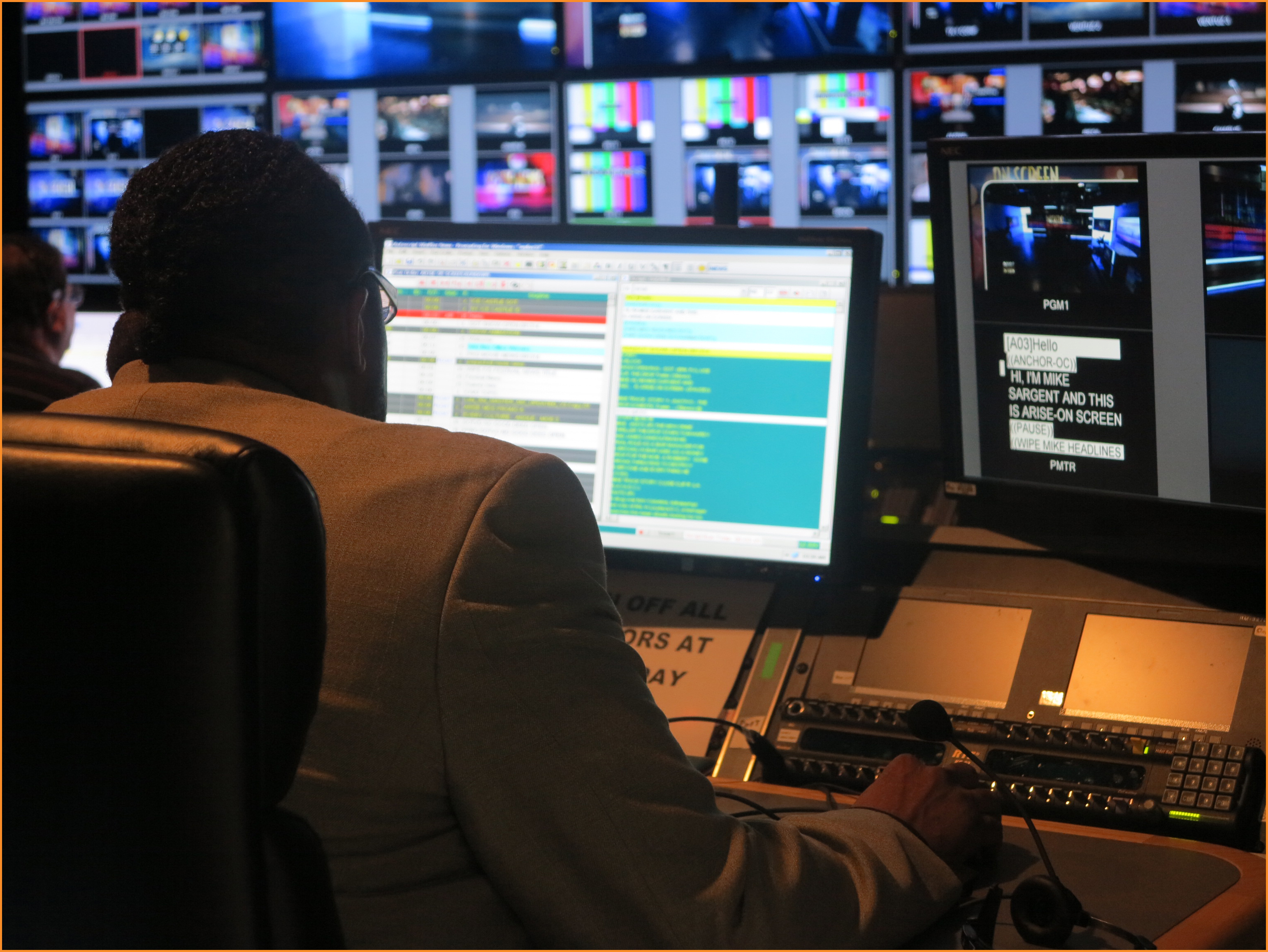 Arise On Screen control room