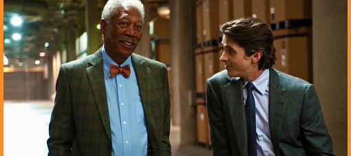 "Morgan Freeman and Christian Bale in ""The Dark Knight Rises"""