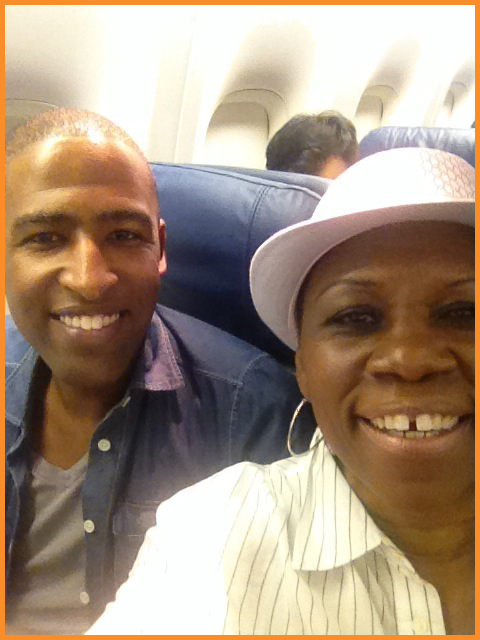 Arise On Screen Line Producer Steven Ramey and Executive Producer Debbie Mitchell on our way to the Cannes Film Festival, May 2014 Selfie credit: Debbie Mitchell /Deborah Mitchell Media Associates