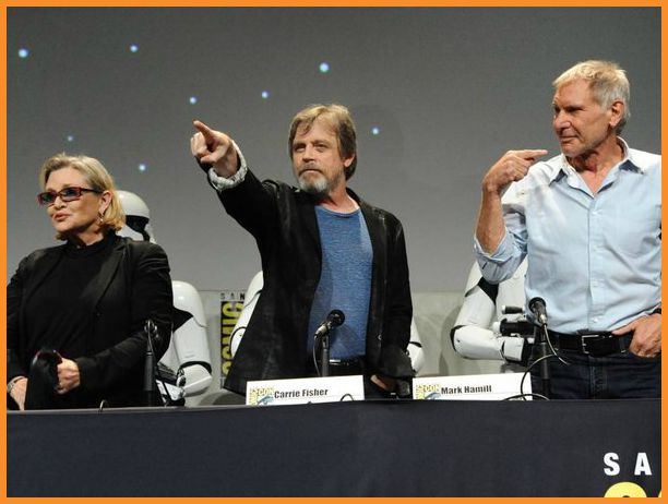 Star Wars actors Carrie Fisher, Mark Hamill, and Harrison Ford at Comic-Con 2015