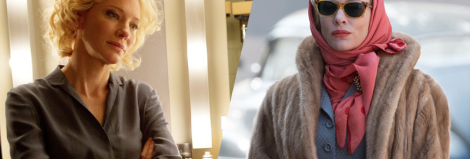 """Cate Blanchett in """"Truth"""" (l) and """"Carol""""(r) Photo courtesy: Sony Pictures/The Weinstein Co."""