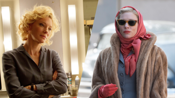 "Cate Blanchett in ""Truth"" (l) and ""Carol""(r) Photo courtesy: Sony Pictures/The Weinstein Co."