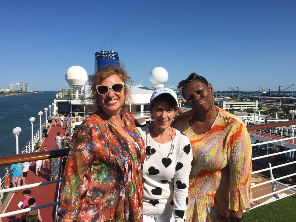 Fathom Adonia, Port of Miami - #TravelDeep (i) Lora Wiley-Lennartz, Vicki Winters and Deborah Mitchell Photo Courtesy: Deborah Mitchell/Deborah Mitchell Media Associates
